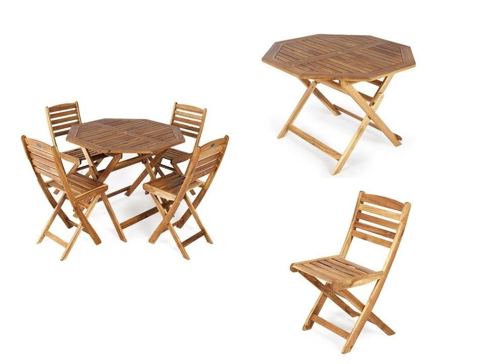 Garden Dining Table Set Folding Wooden 4 Chairs Outdoor Patio