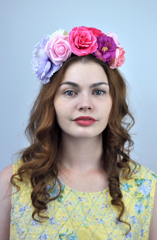 Sale Esme Silk Flower Crown Headpiece In Pink And Purple Fest