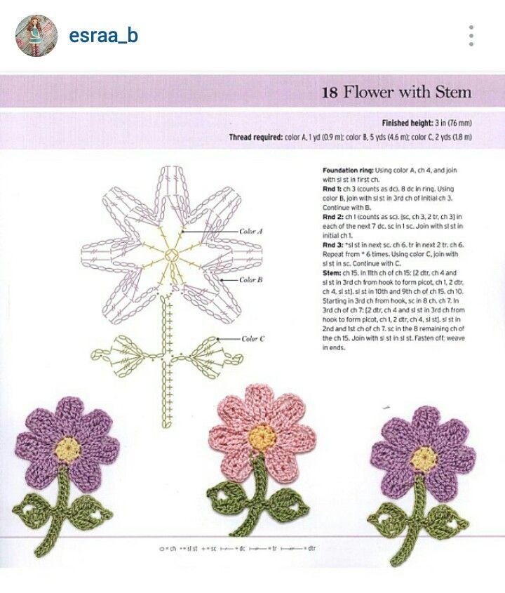 Instagram Esraab Crochet Flower Diagram Crochet Diagrams