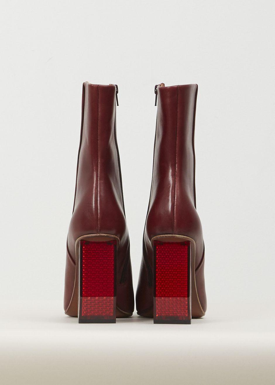 Vetements Reflector Heel Ankle Boots (Burgandy / Red Heel)