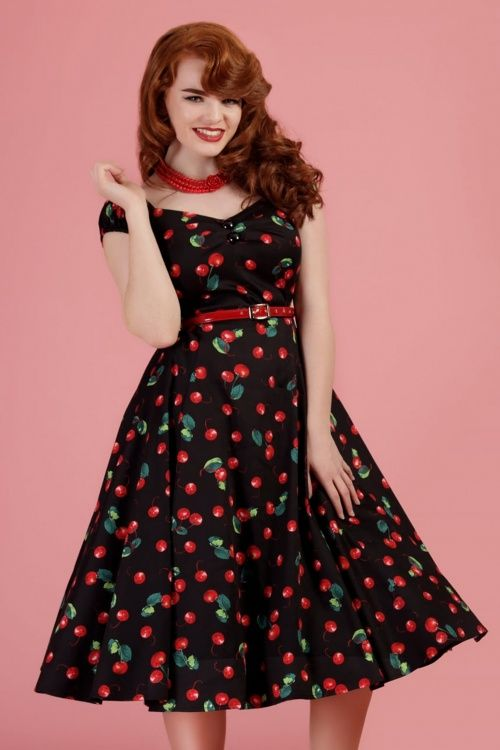 d2adec34737611 50s Dolores Cherry Doll Swing Dress in Black Rockabilly Mode