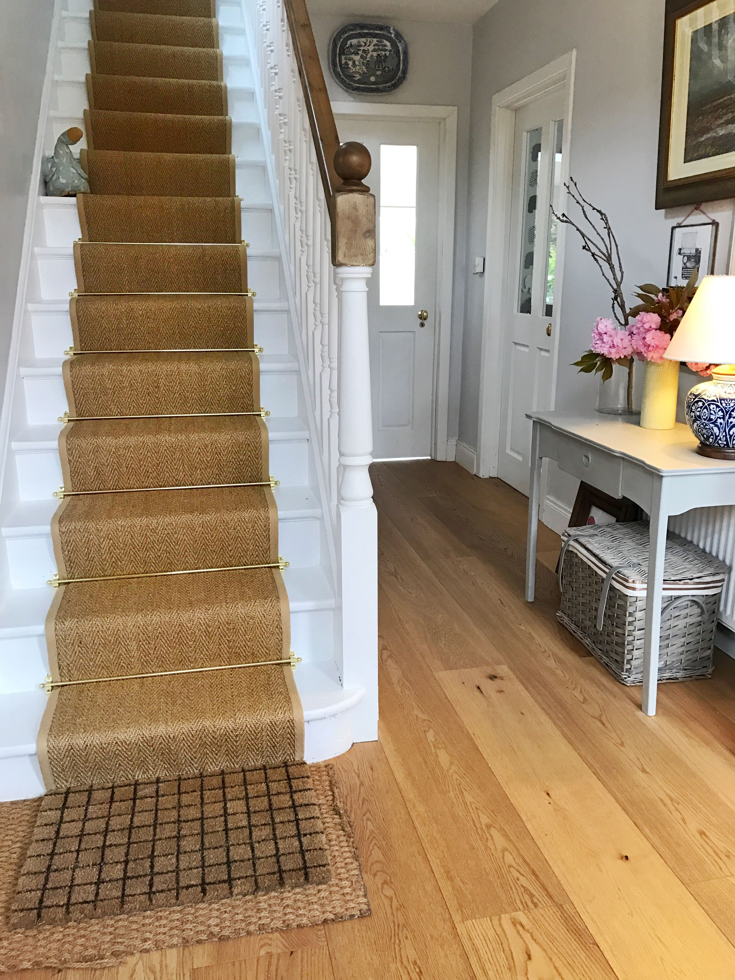 Best Hallway Sisal Natural Colour Stair Runner With Brass 640 x 480