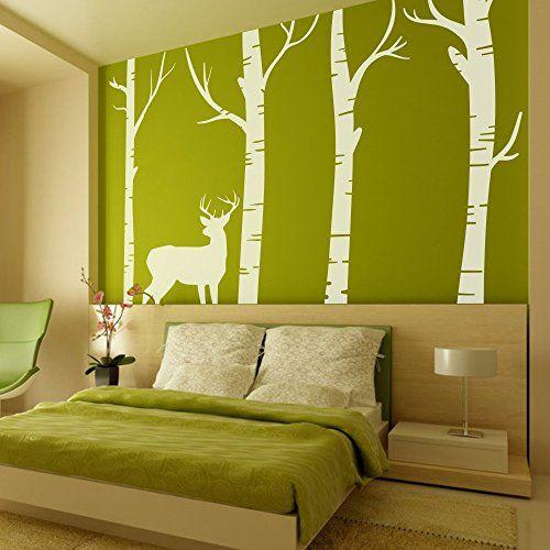 $39.99 - MairGwall Nature Decor Deer Vinyl Birch Tree Wall Decal ...