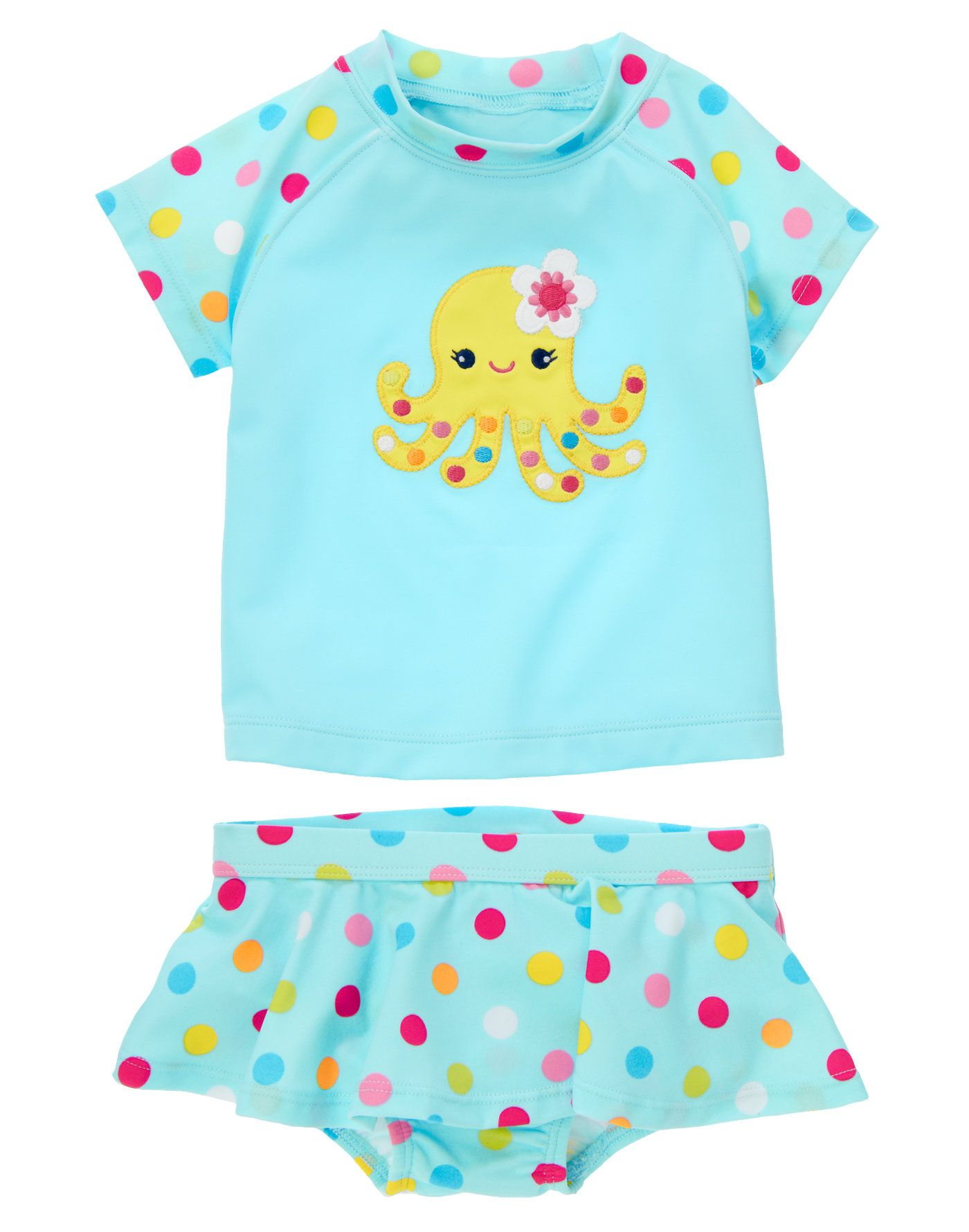 e880854fdd7798 Sweet and playful rash guard with dot print raglan sleeves features a cute  appliquéd octopus with embroidered details. Bright allover dot print  brightens up ...