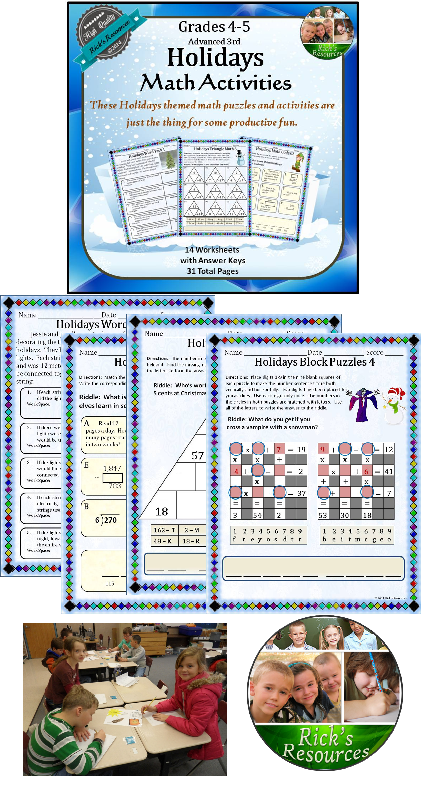 Christmas Hanukkah Kwanzaa Math Activities