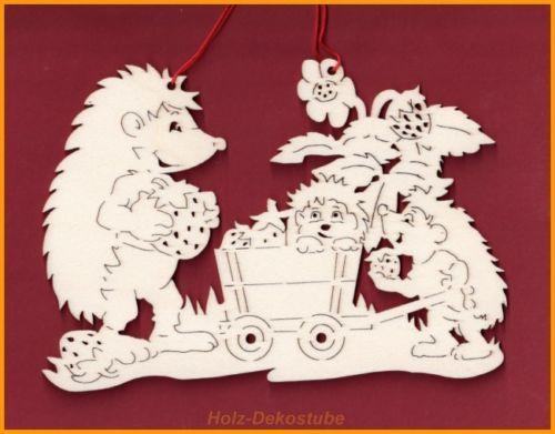 fensterbild wandbild igelfamilie natur herbst deko holz