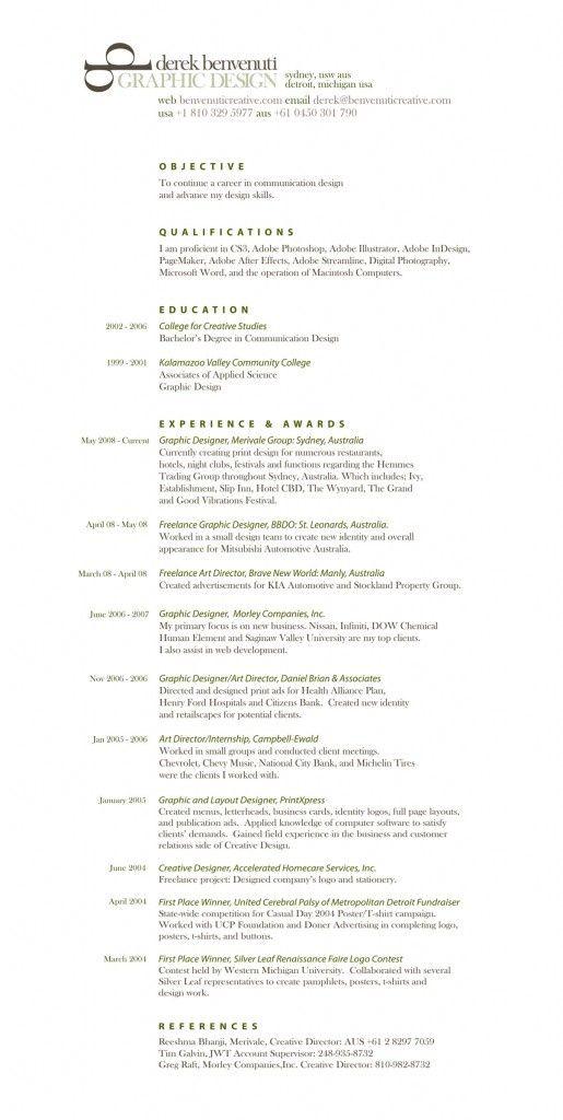 design resume 3 Résumé Pinterest Design resume, Graphic - creative director resume