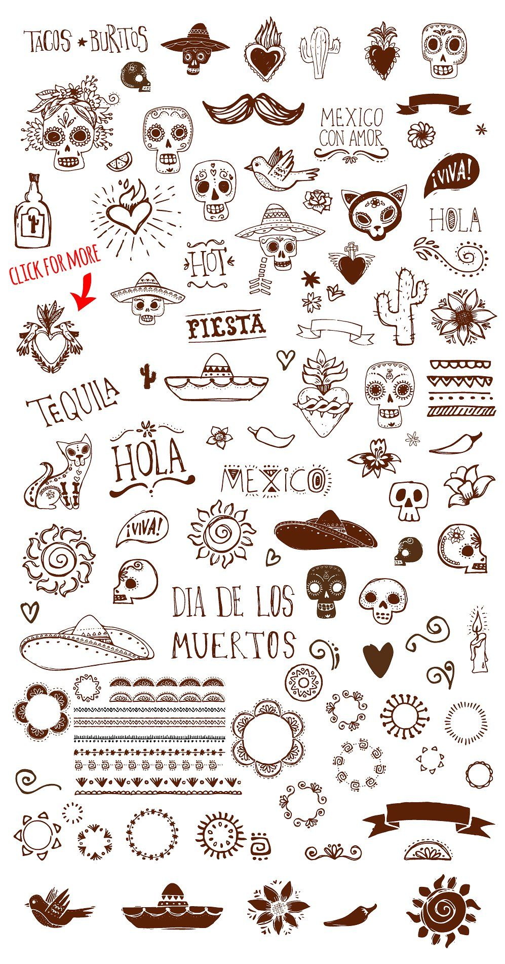 Mexican Hand Drawn Doodles Set by Marish on @creativemarket