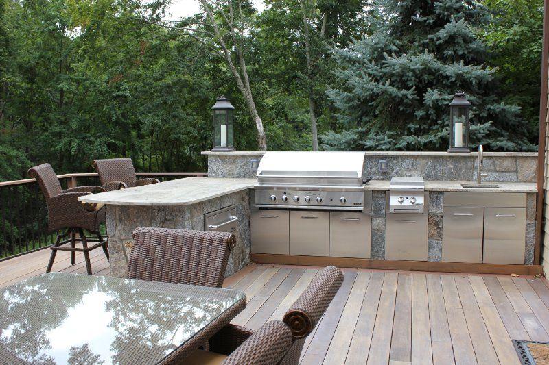 Outdoor Kitchen On Wooden Deck Google Search Outdoor Kitchen Outdoor Rooms Outdoor Kitchen Design