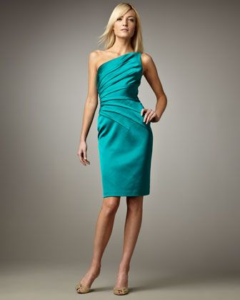 12cc321d0fac One-Shoulder Cocktail Dress by David Meister at Neiman Marcus ...