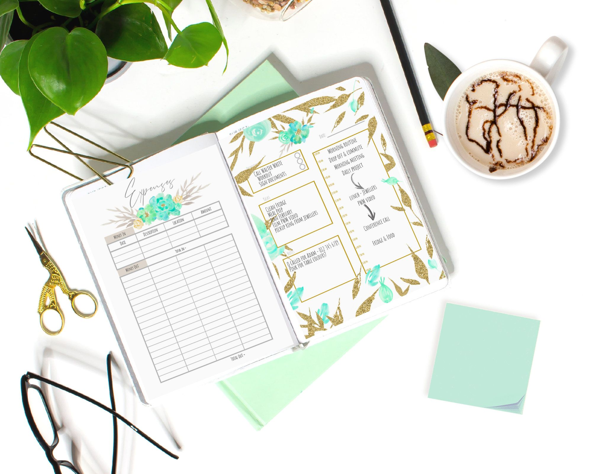 Fresh Starts Bullet Journal Printable Planner PDF Calendar