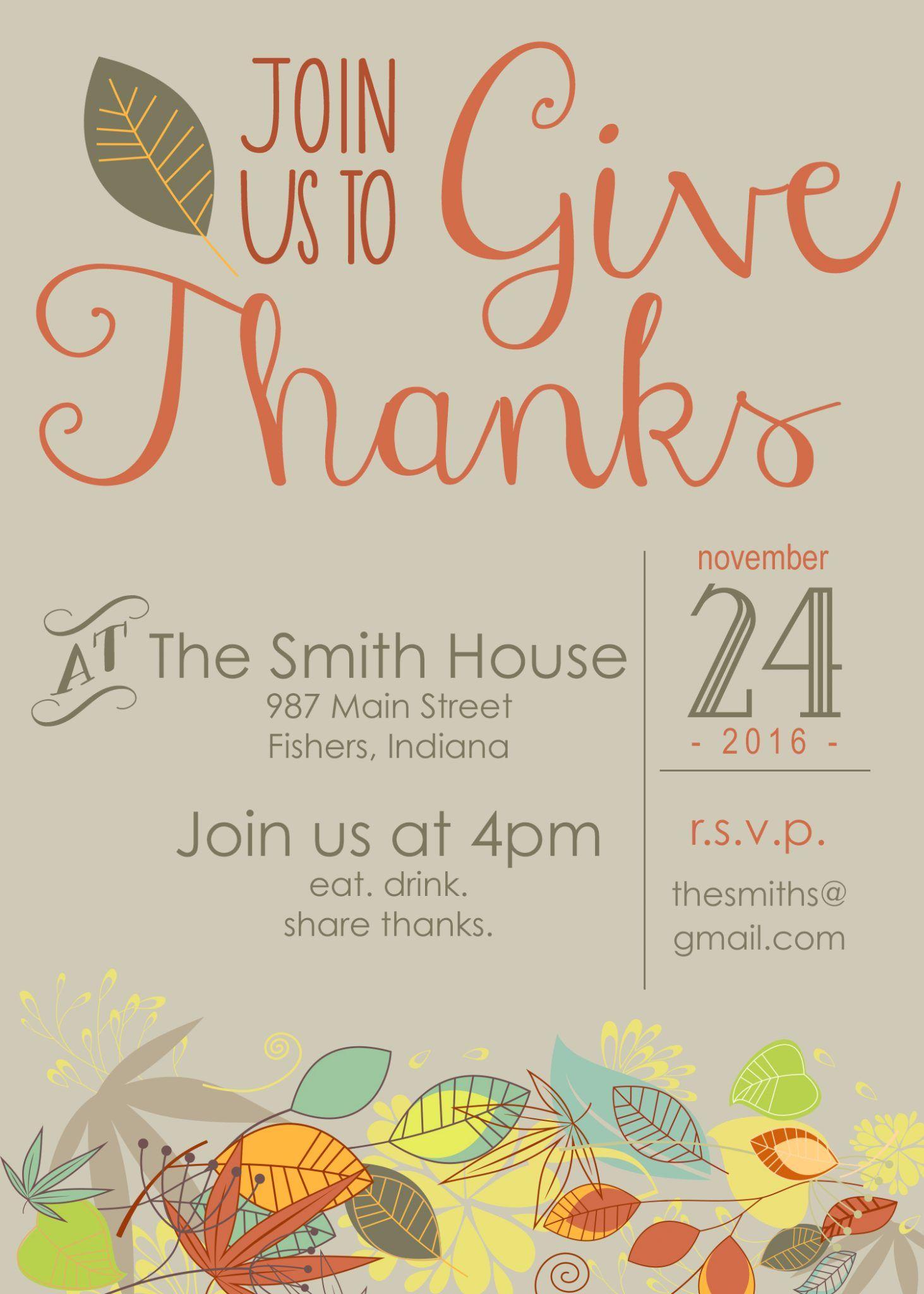 customizable thanksgiving invitation friendsgiving pinterest