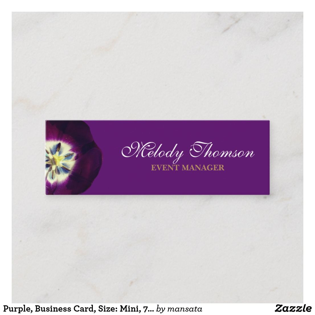 Purple Business Card Size Mini 7 6 Cm X 2 5 Cm Mini Business Card Zazzle Com Mini Business Card Floral Business Cards Elegant Business Cards