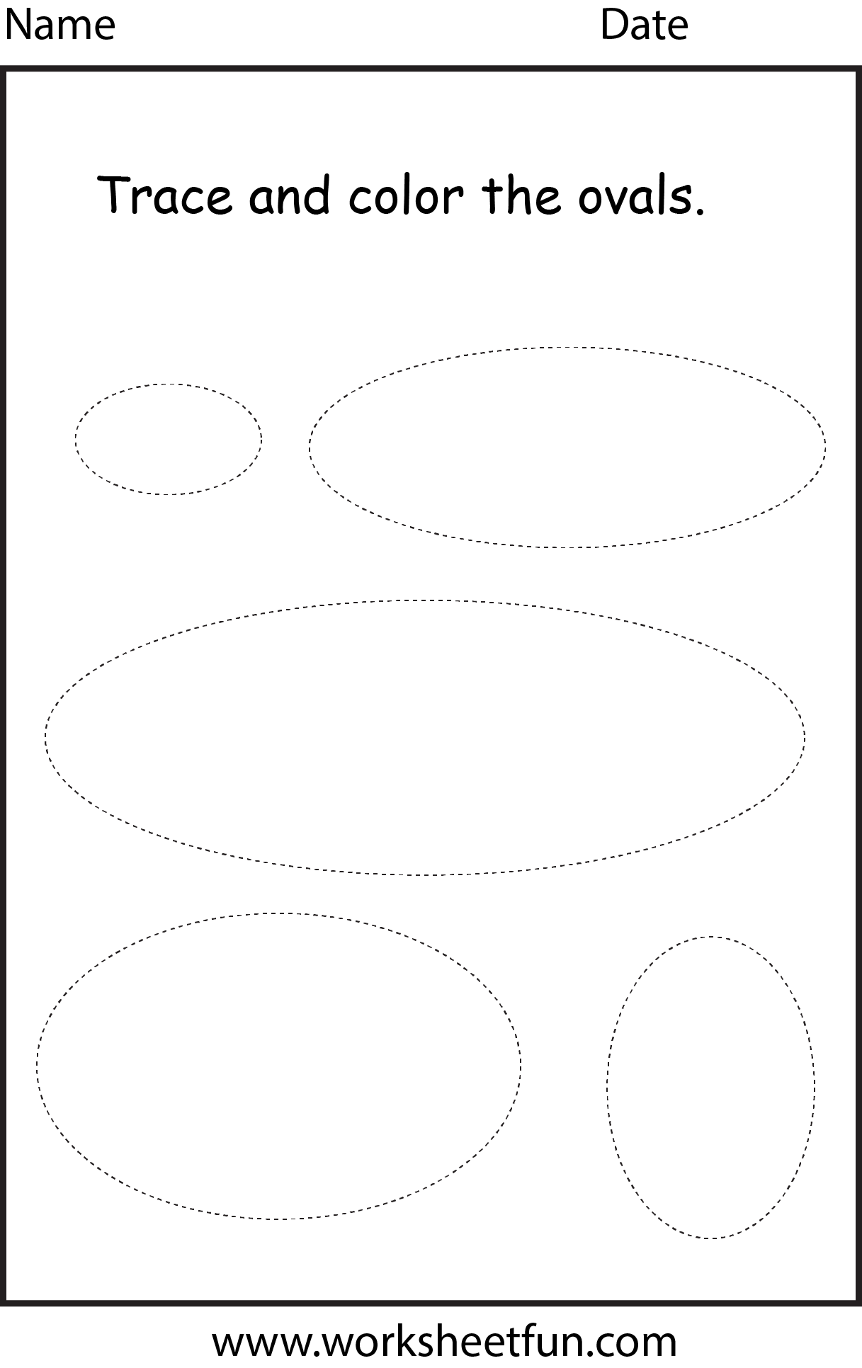Colouring shapes activities - Shapes Oval