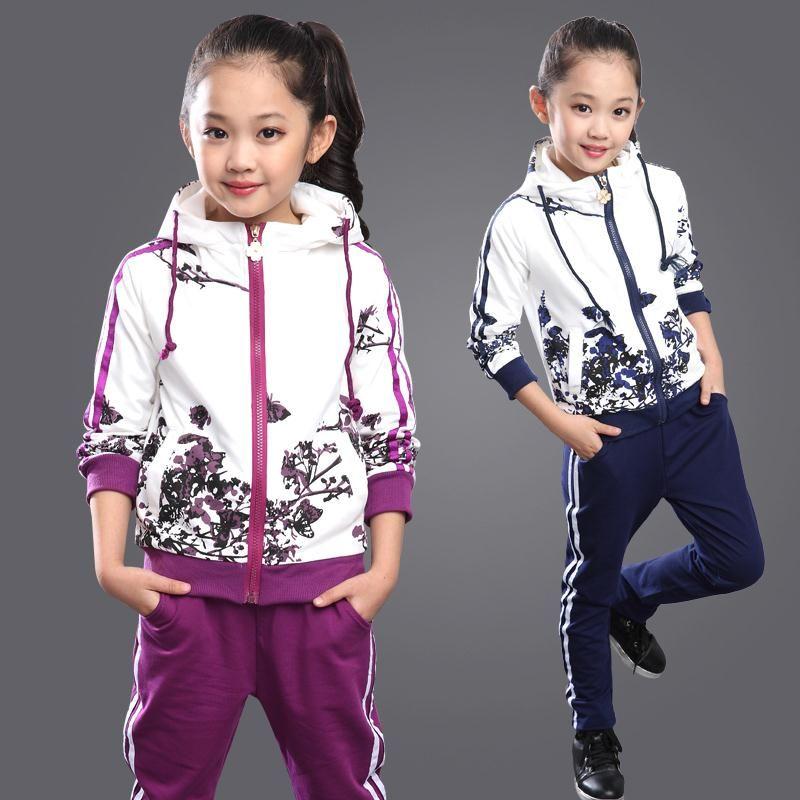 Girls Clothing Set Infant Zipper Sport Tracksuit Kids Girl Clothes Hooded Pants
