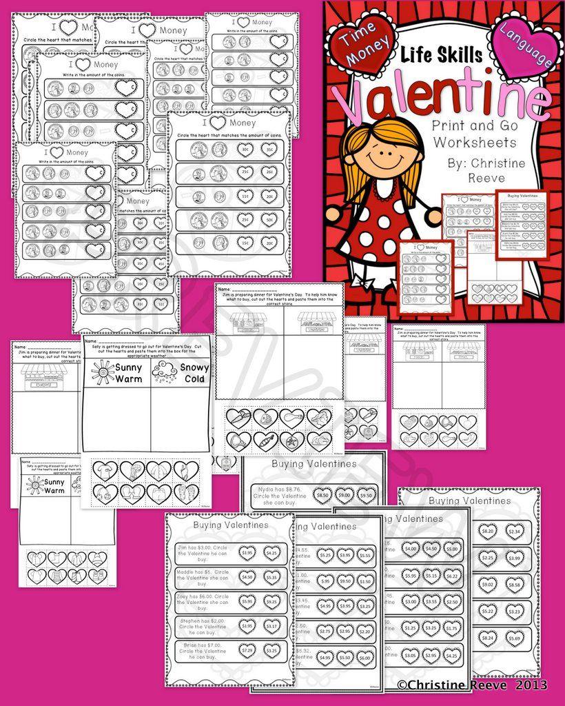life skills valentine print go worksheets money and grocery sorting autism middle high. Black Bedroom Furniture Sets. Home Design Ideas