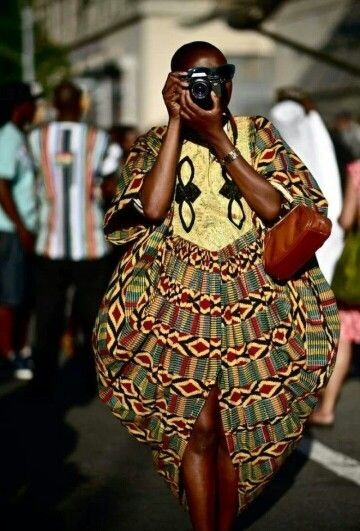 Beautiful split oval silhouette in kente print. African. Red. Green. Yellow.