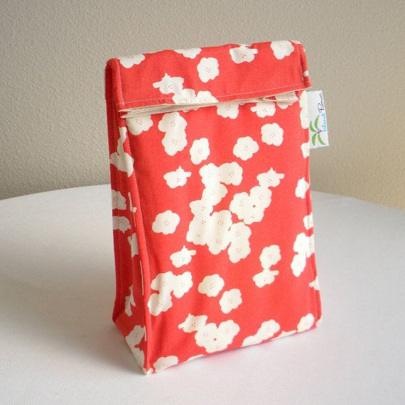 Girls Organic Lunch Bag - Eco Friendly, Fully Insulated - Coral Poppies - Back to School