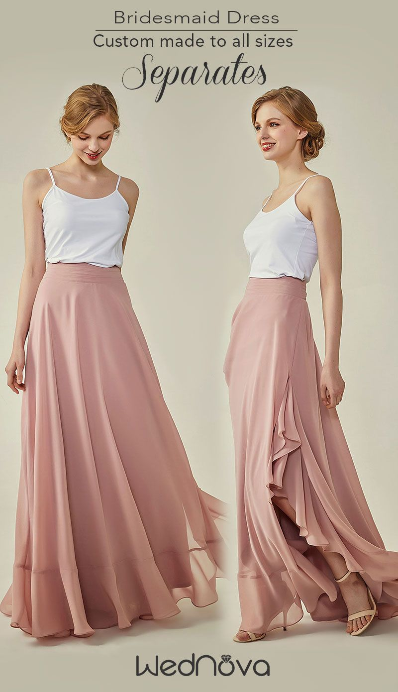 Long dresses for summer wedding  chiffon separates bridesmaid dresses pink long skirts on a budget