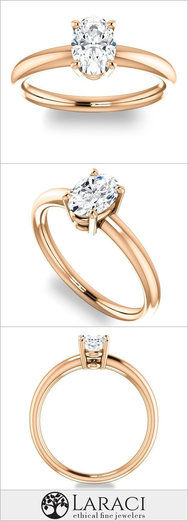 K rose gold solitaire moissanite engagement ring set with a ct