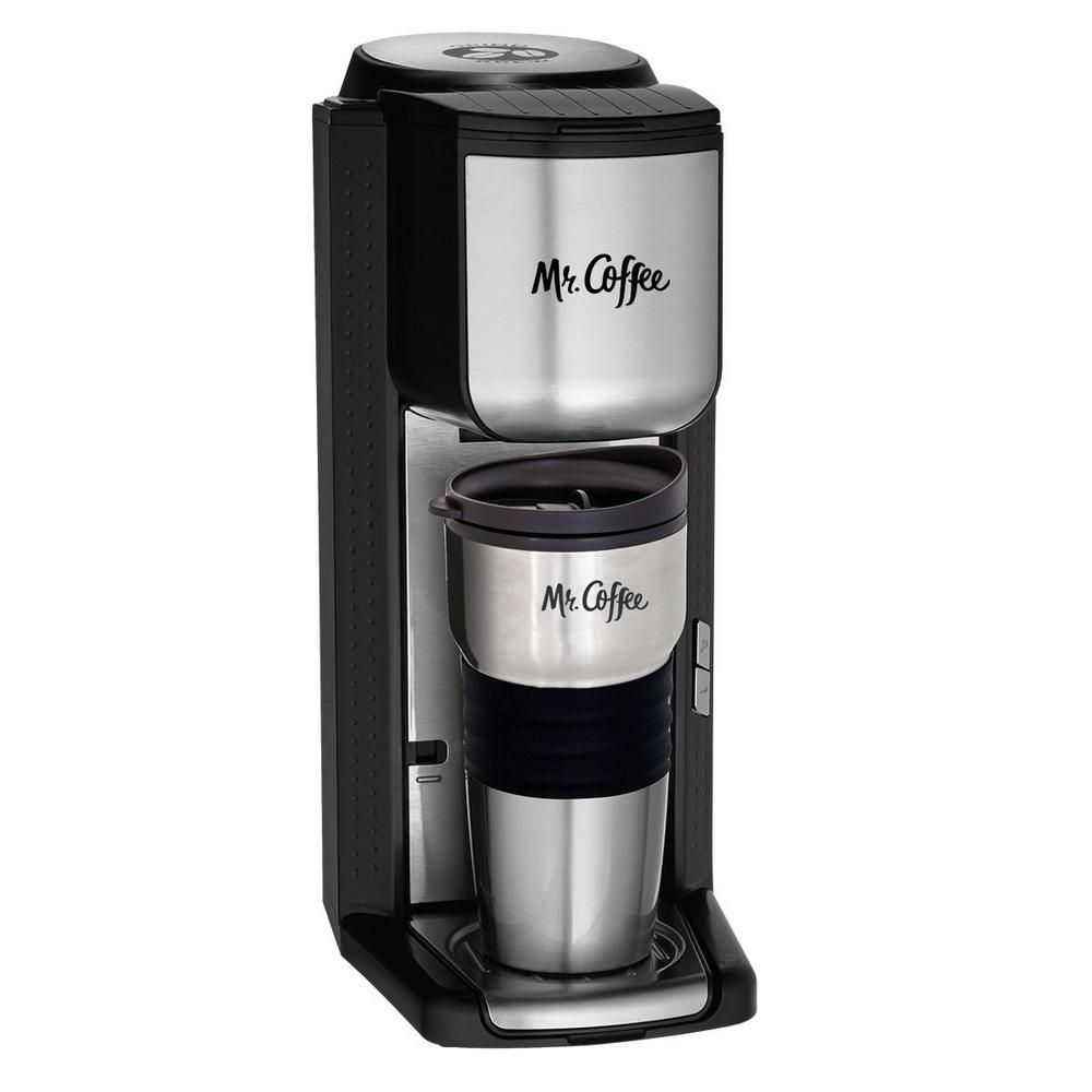 Mr Coffee Black Stainless Steel Single Serve Coffee Maker With Built In Grinder And Travel Mug Bvmc Scgb200 The Home Depot Single Cup Coffee Maker Single Serve Coffee Makers 1 Cup Coffee Maker