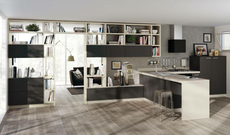 cucina a vista con mobili moderni bianchi e neri, libreria ...
