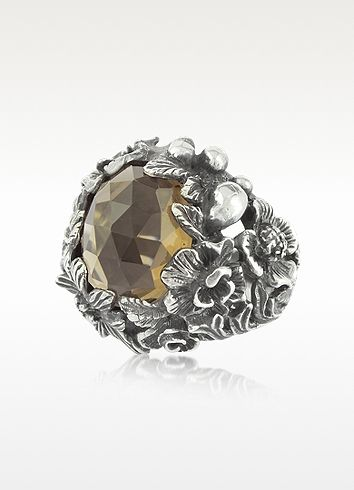 Ugo Cacciatori Ring for Women, Oxidised Silver, Silver, 2017, Medium
