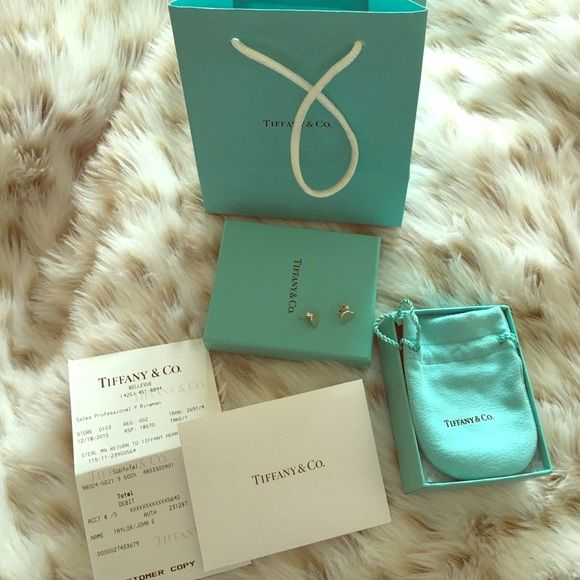 Tiffany co heart earrings Bought in December worn twice comes with everything you see authentic Tiffany earrings Tiffany & Co. Jewelry Earrings