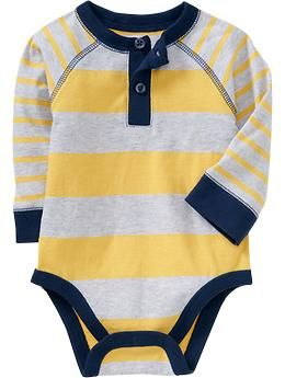 Mixed-Stripe Henley Bodysuits for Baby | Old Navy 3-6m