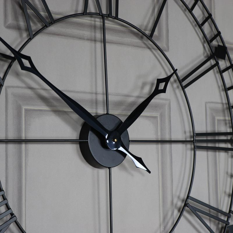 A Matte Black Kitchen Makes A Bold Statement In This: Large Black Iron Skeleton Wall Clock (With Images)