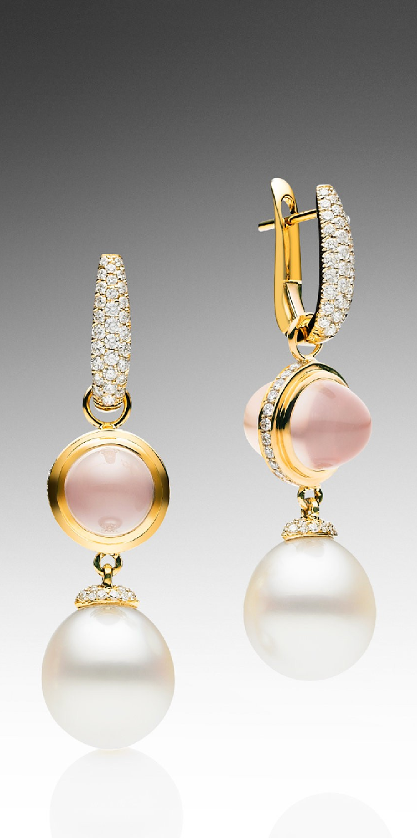 Muse Rose Quartz Earrings Paspaley Australian South Sea Pearl Featuring Two 12mm Oval Pearls And 8mm Set In 750 Yellow Gold With