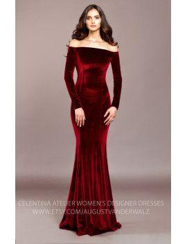 09876d25d red Velvet dress