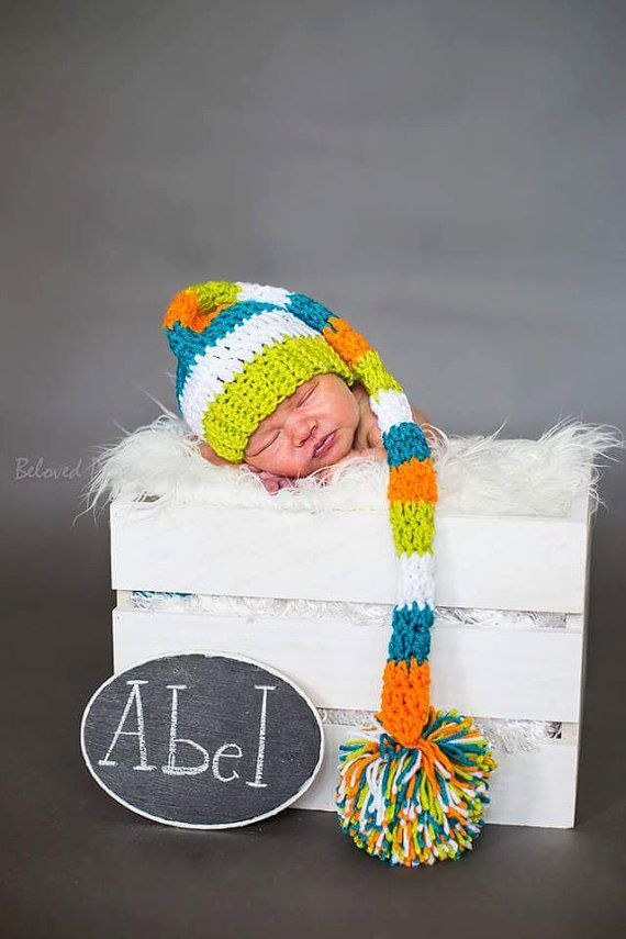 f1d5108ea70 Handmade Extra Long Crochet Stocking Cap Elf-Tail Hat Newborn Baby Infant  Toddler Photo Prop Shower Gift Custom Colors Available Boys Girls