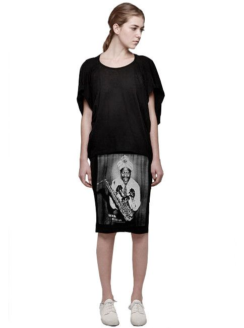 9f907f860ecd6 Awesome - Louis Jordan Saxophone photo silk screen print on a pencil skirt.  For information on how to pick your size, please refer to the size chart or  ...