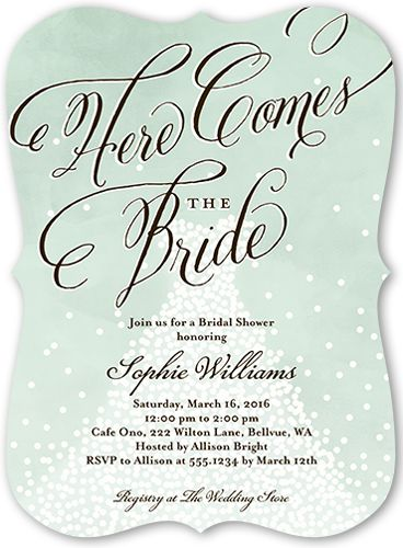Bridal Shower Invitation Dreamy Details Bracket Corners Blue