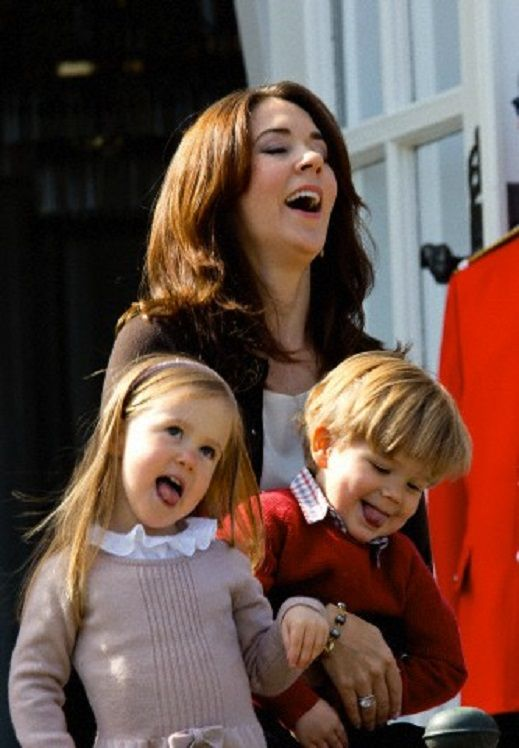 Denmark's Crown Princess Mary, Princess Josephine and Prince Vincent attends the celebrations of Danish Queen Margrethe's 74th birthday in Aarhus at Marselisborg Castle, 16 April 2014.
