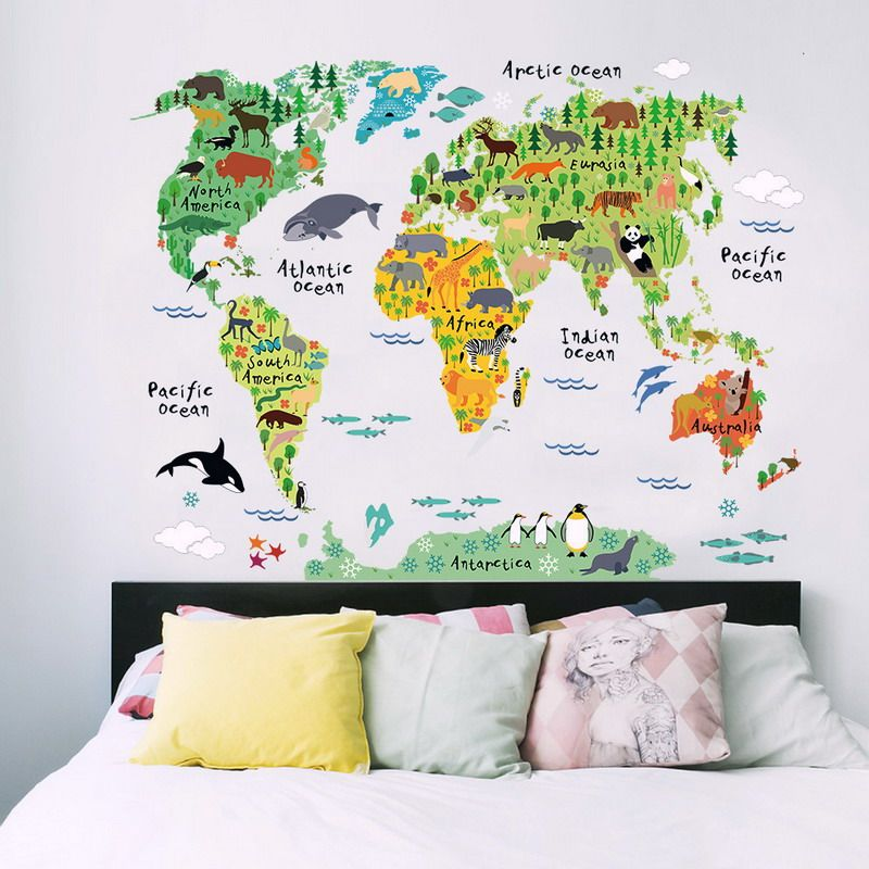 Colorful black wallpaper animal world map wall stickers decal animal world map wall stickers decal children home decals nursery posters for home decoration takofashion womens clothing fashion online shop gumiabroncs Gallery