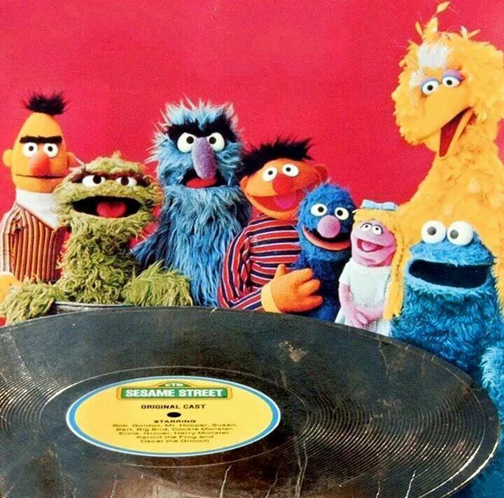 Sesame Street with giant Sesame Street record.