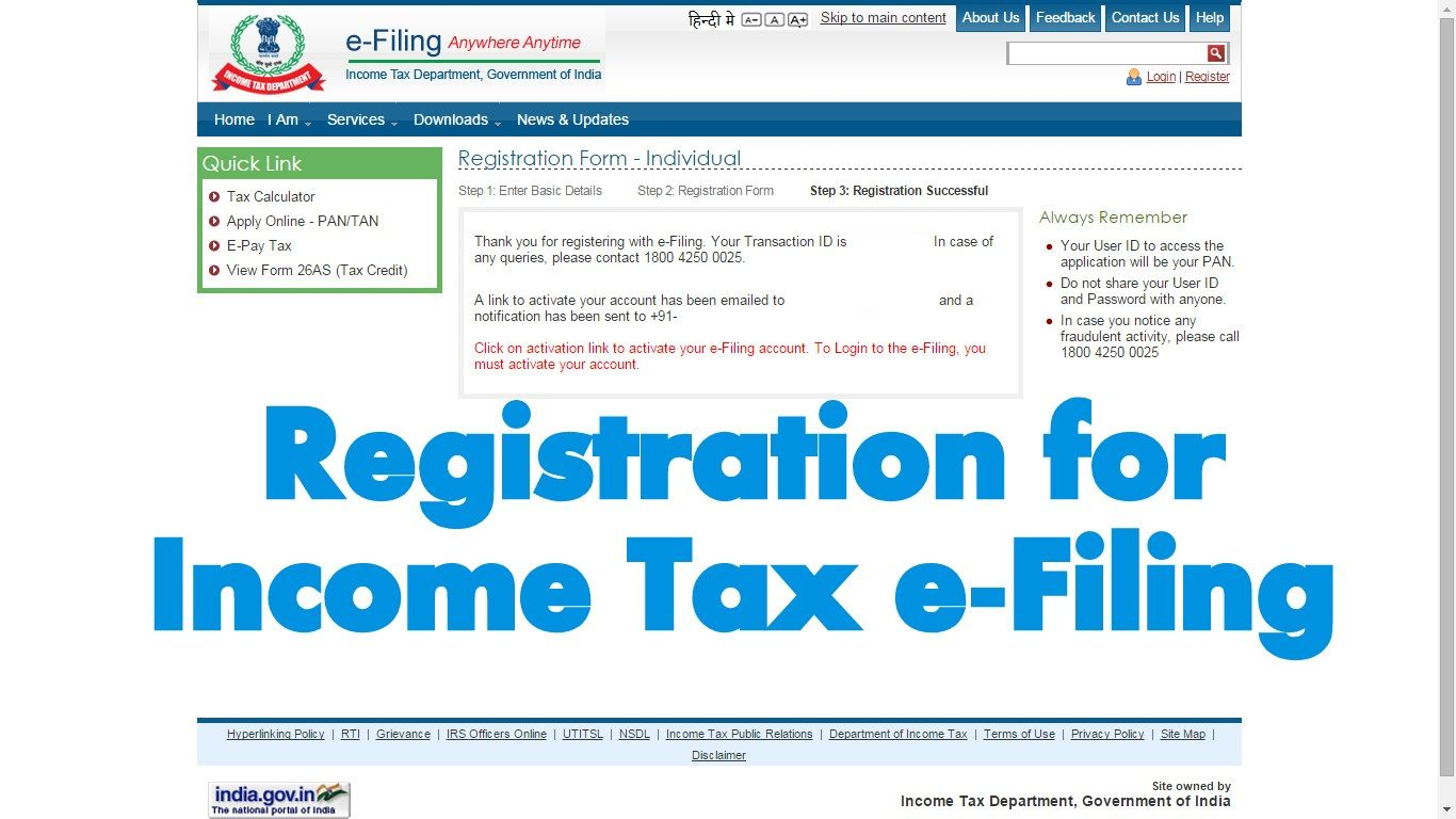 How to create account for Assessee in Income Tax e Filing