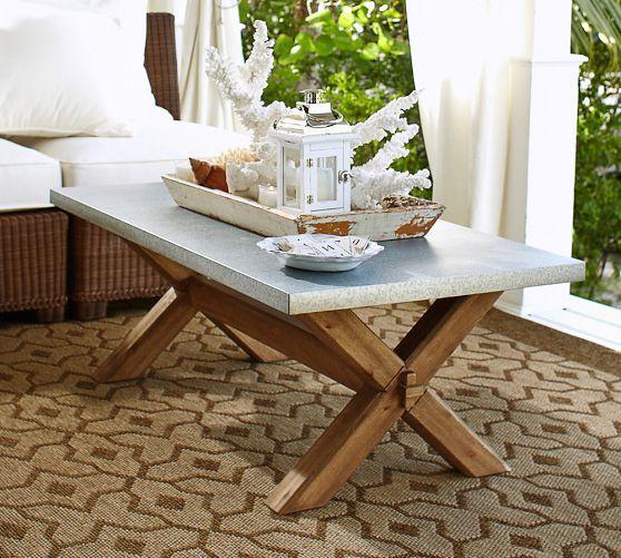 Abbott Zinc Top Rectangular Coffee Table Pottery Barn For The - Pottery barn abbott coffee table