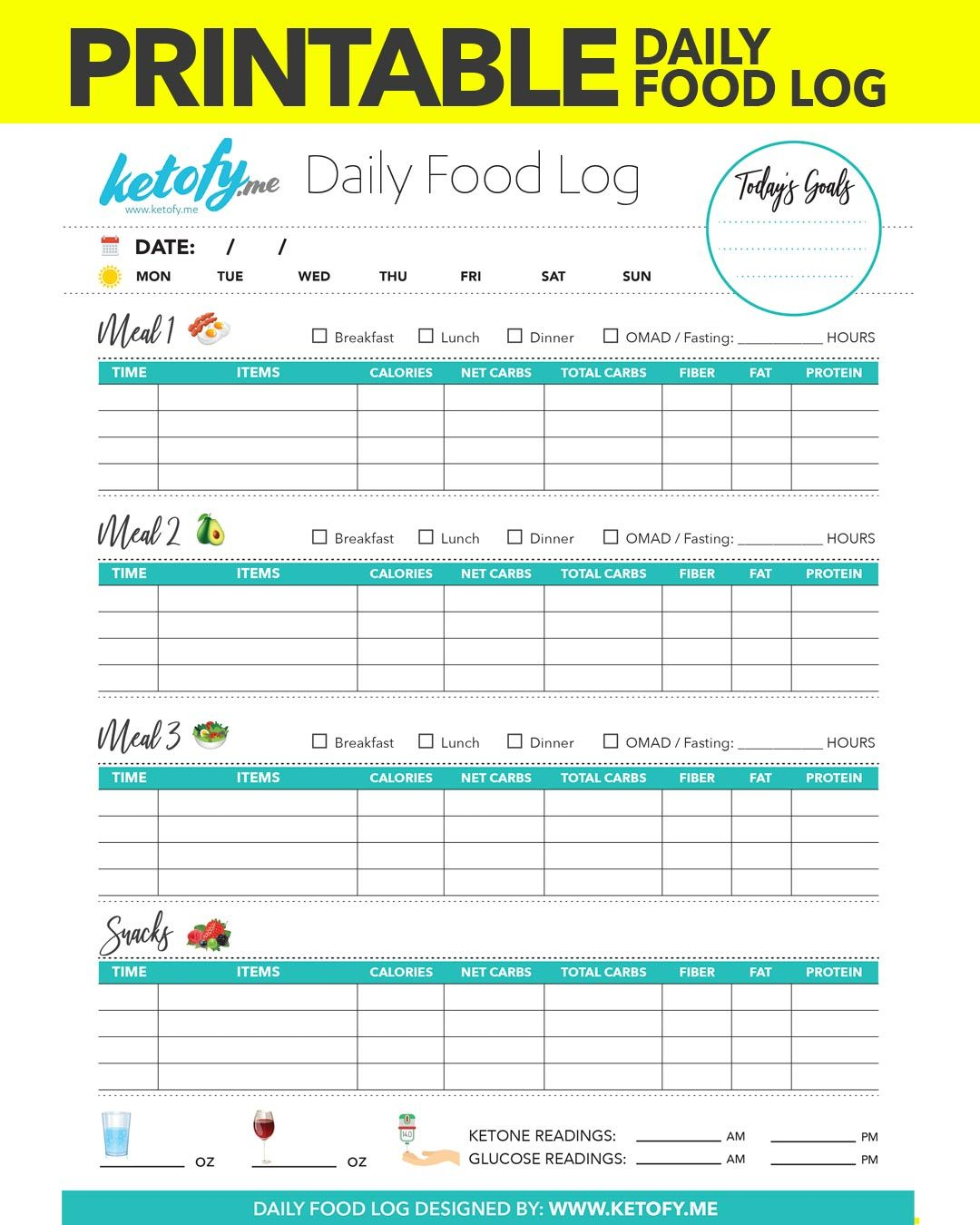 It's just an image of Printable Food Diary with 7 day
