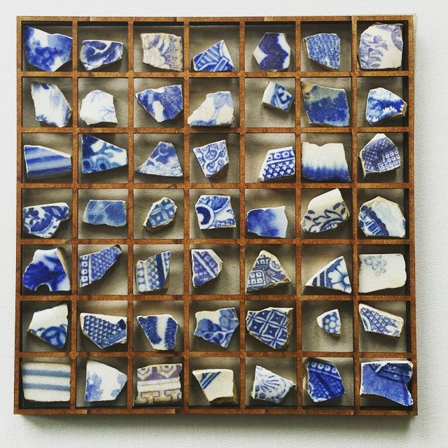 Fragments of #blue #pottery #collected from shaldon beach, where do they all come from