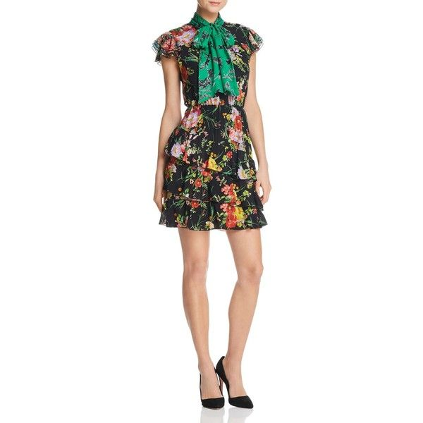 b81f74daafb967 Alice + Olivia Lessie Tiered Floral Tie-Neck Dress - 100% Exclusive ( 515