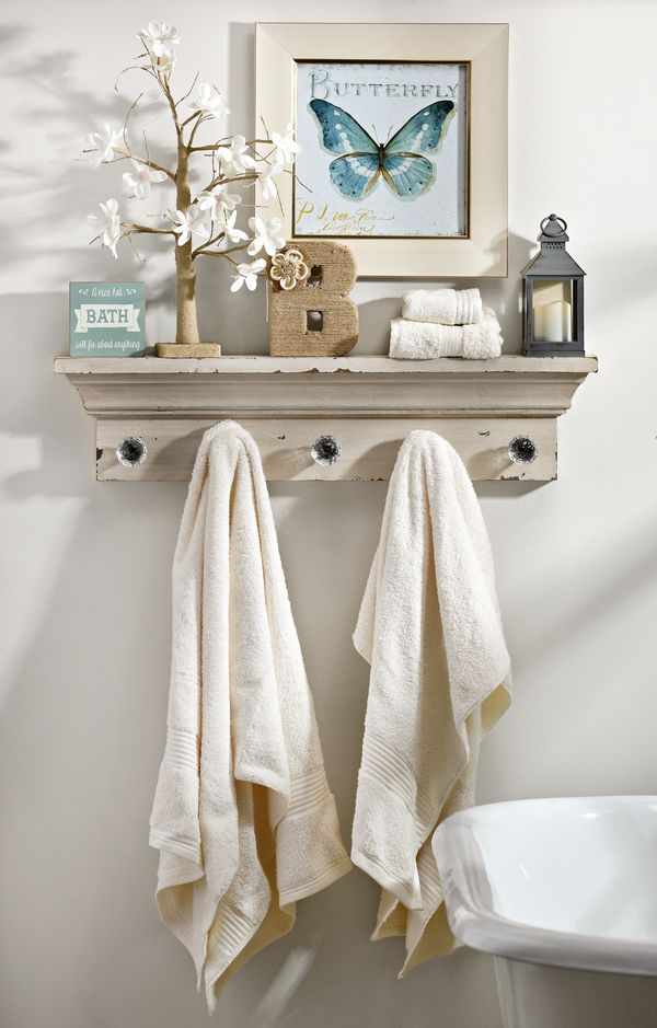 How To Decorate Using A Wall Shelf With Hooks My Kirklands Blog Decorating Bathrooms Pinterest Shelves And