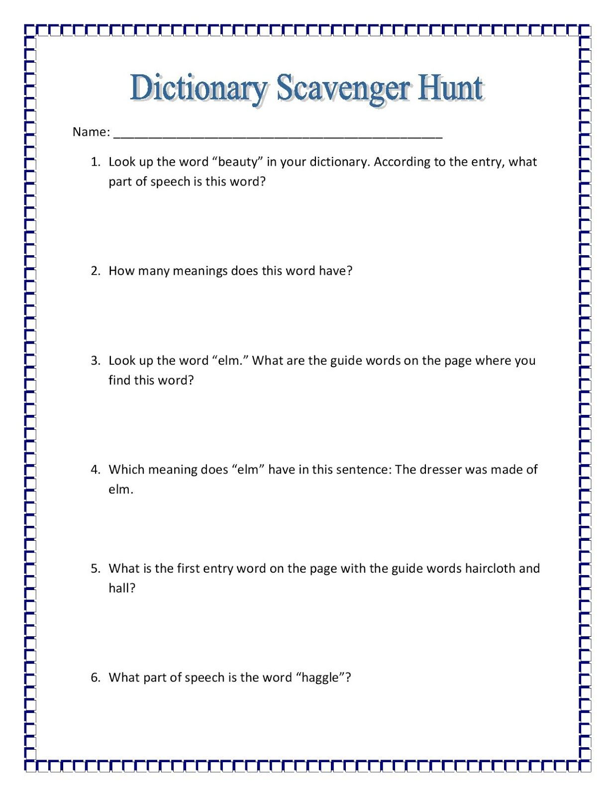 worksheet Dictionary Skills Worksheet maniac monday dictionary scavenger hunt free activities