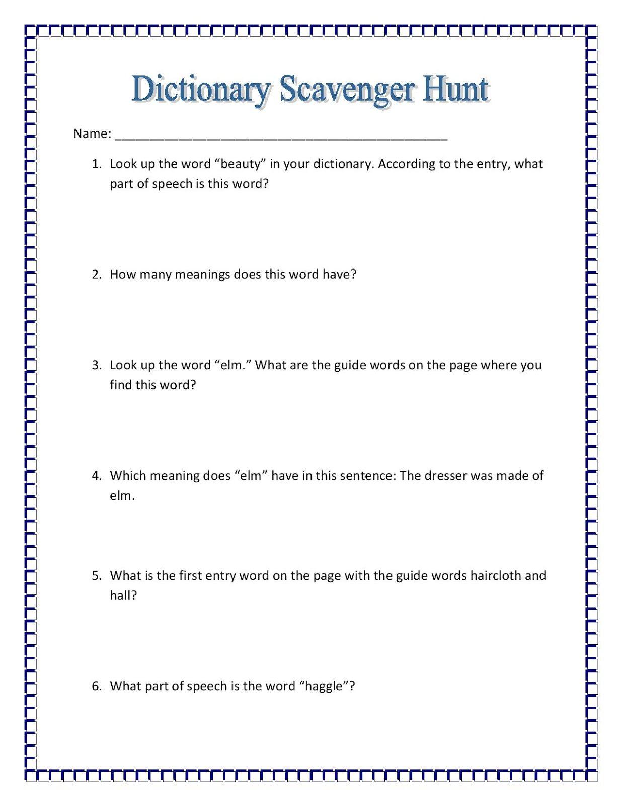 medium resolution of Maniac Monday-Dictionary Scavenger Hunt-free   Dictionary skills