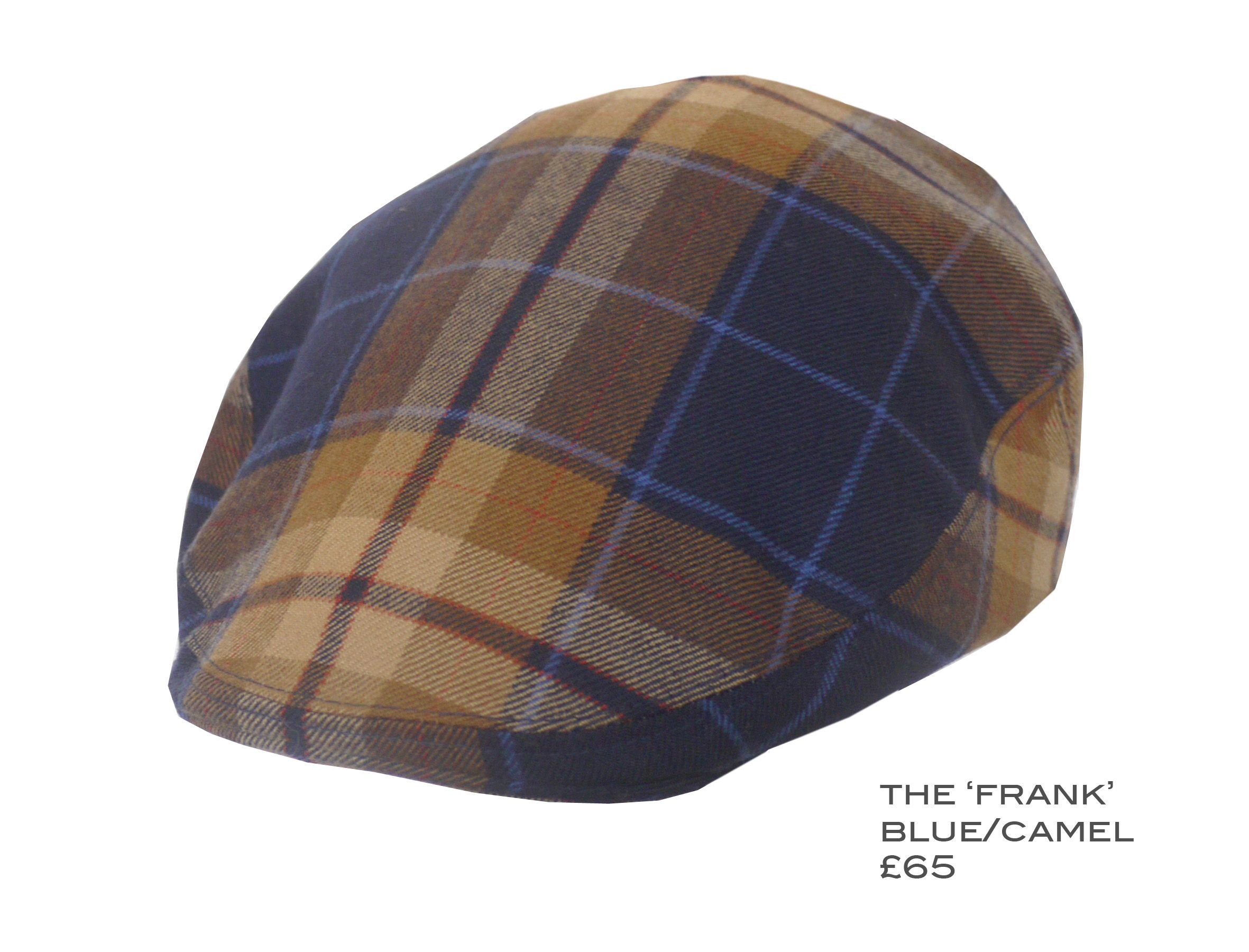 KEMPADOO MILLAR THE FRANK. BLUE CAMEL CHECK FLAT CAP. BRITISH MADE MENS  ACCESSORIES 4d8c0bec87d8