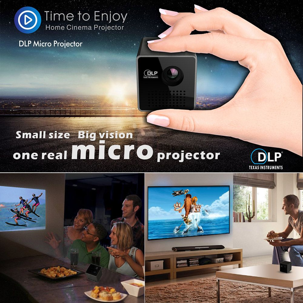 Ultramini DLP Projector Portable 1080P HD Beamer Throw 70-inch 64G TF Slot 3.5mm Audio port for Home Outdoor Use 1000mAh Battery