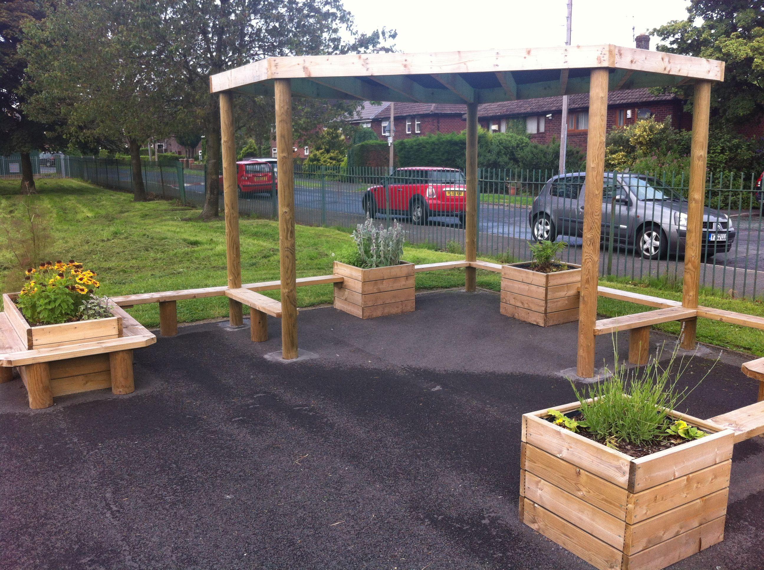 Admirable Playground Pergola With Bench Seating Planters Quiet Uwap Interior Chair Design Uwaporg