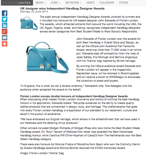 In The Press Independent Handbag Designer Awards Hbdesigner101 Handbagawards